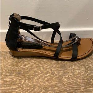 Black and bronze sandals